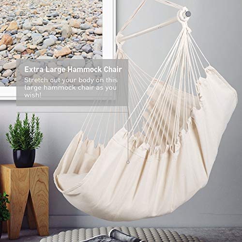 SUNCREAT Hammock Chair Hanging Rope Swing Seat-Max 450lbs Capacity, Extra Large Hanging Swing with Metal Support Bar, Side Pocket, Beige