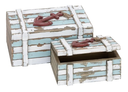 Deco 79 Wood Box Nautical Maritime Decor, 10-Inch by 7-Inch, Set of 2 -