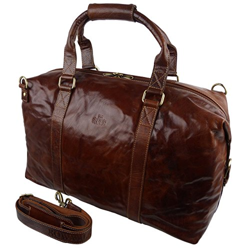(Rowallan of Scotland Women's Buffalo Leather Holdall Travel Bag Carry -On Multi)