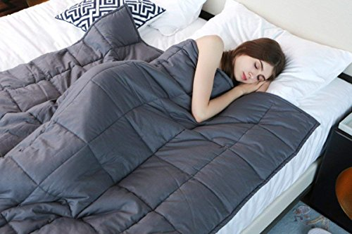 YnM Weighted Blanket (15 lbs, 48''x72'', Twin Size), Premium Cotton & a glass Beads Gravity 2.0 Heavy Blanket, awesome Sleep Therapy for men and women together with Anxiety, Autism, ADHD, Insomnia or Stress