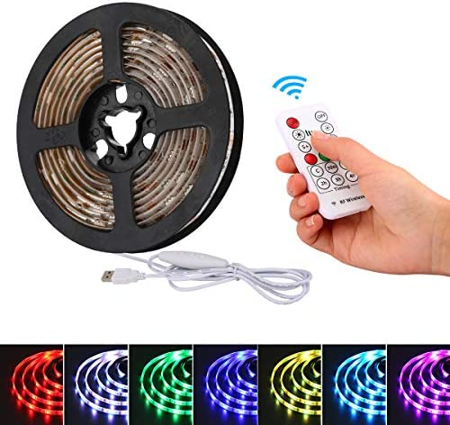 YDZM RGB TV Led Strip Lights, USB Powered Led TV Backlight for HDTV, 2m 6.56ft IP65 Waterproof Rope Lights with IR Remote Controller, for Homes Decoration, Kitchen Cabinet Lights and Bar Lighting