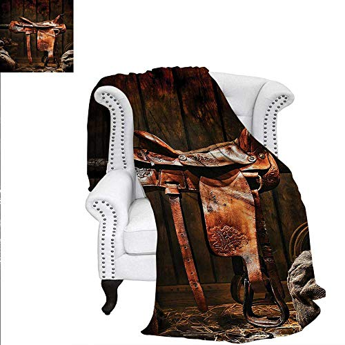 Western Warm Microfiber All Season Blanket Cowboy Rodeo Theme Ranch Print Image Blanket 70