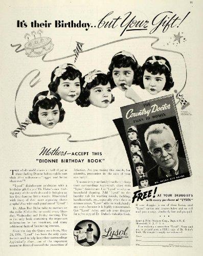 Original Disinfectant - 1937 Ad Dionne Quintuplets Dr Dafoe Lysol Disinfectant - Original Print Ad