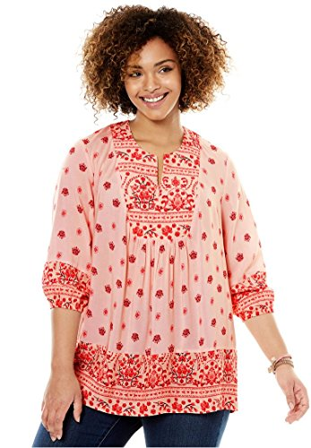 Women's Plus Size Mix-Print Blouse Pink Floral Border,18/20 (Print Border Top Tunic)