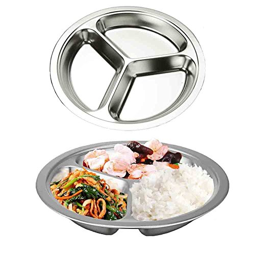 Stainless Steel Divided Plate,AIYoo Round Divided Dinner Plate Set of 2 Mess Trays - 3 Compartment Camping Plate Food Tray for Kids ,Babies,Toddlers Serving Platter ,24 CM (Round Divided)
