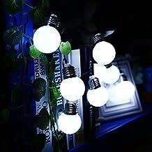 Solar String Lights,VSOAIR 10LED G50 Festoon Bulb Lights, 8 modes Waterproof Solar Plastic Globe Fairy Lights , Outdoor Garden Light, Indoor Outdoor Christmas Party Decorative Lights/ Lighting, Ambiant Lighting (White)