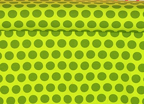 Knit Green Pixie Euro French Dots Design Fabric by the Yard, 95% Cotton, 5% Lycra, 60 Inches Wide, Gorgeous knit, great quality, extra stretchy and soft, 4 way stretch (2 yards) ()