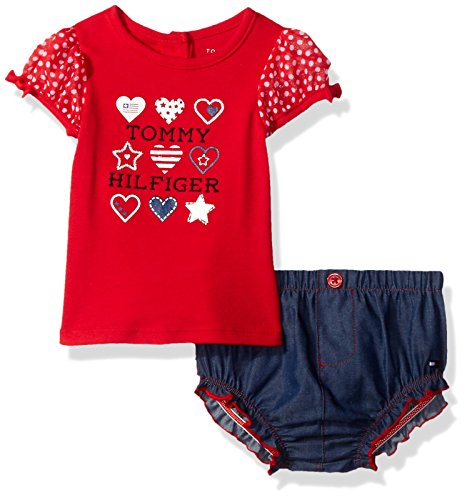 Tommy Hilfiger Baby Girls' Combed Interlock Top and Chambray Diaper Cover, Navy/Red, 3-6 Months