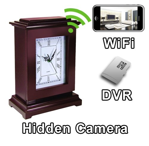 - PalmVID WiFi Square Mantel Clock Hidden Camera Spy Camera with Live Video Viewing