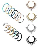 LOYALLOOK 20G 16PCS Stainless Steel Fake Septum Ring Nose Hoop Piercing Clicker Ring Septum Retainer Set Body Jewelry Piercing