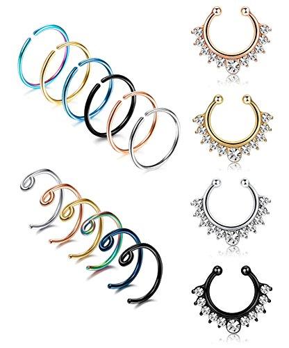 LOYALLOOK 20G 16PCS Stainless Steel Fake Septum Ring Nose Hoop Piercing Clicker Ring Septum Retainer Set Body Jewelry Piercing