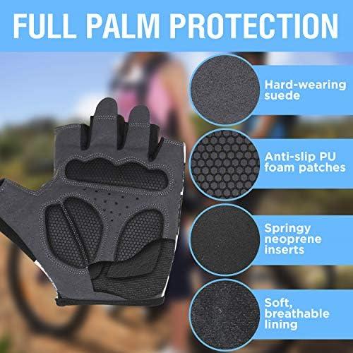 Mountain Bike Full-Palm Protection Cycling Biking Bicycle Half Finger Gloves Men