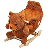 Lucky Tree Rocking Horse Wooden Riding Toys Plush Brown Bear Ride on Toy with Wheels for kids 18 Months-4 Years,Bear