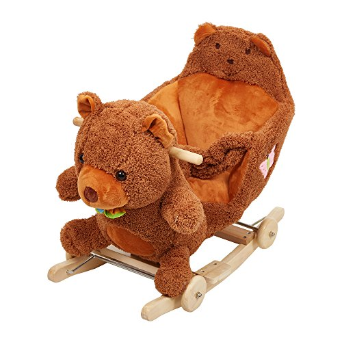 Bear High Chair (Livebest Baby Plush Rocking Horse Wooden Chair Rockers with Wheels,Seat Belt Kid Rocking Horse Chair/Outdoor Rocking Horse/Rocker/Animal Ride/Rocking Toy)