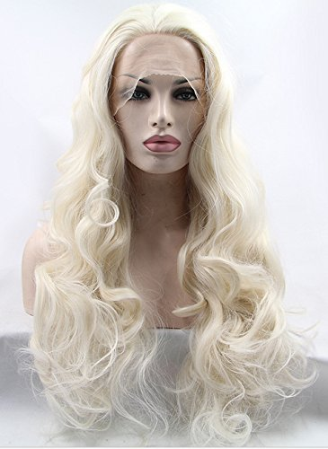 K'ryssma Platinum Blonde Glueless Lace Front Wigs Long Natural Wavy Heat Resistant Synthetic Hair Wig For White Women Half Hand Tied 24 Inch