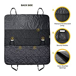 Ecoastal Dog travel accessories,Waterproof Pet Car Seat Cover, Non Slip Backing with Seat Anchors and Adjustable Straps for Cars Trucks and SUV\'s with a Pair of Dog Seat Belts