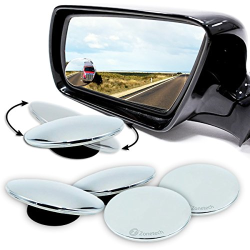 Zone Tech Blind Spot Adjustable Mirrors - 4-Pack Premium Quality Blind Spot Mirror Adjustable Stick-On Exterior Side Mirror for All Cars Motorcycles Trucks - Called What Round Are Glasses