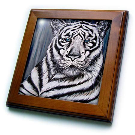 - 3dRose Art by Mandy Joy - Animals - A Realistic Painting of a Tiger. - 8x8 Framed Tile (ft_291488_1)