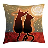 Ambesonne Animal Throw Pillow Cushion Cover, Female and Male Cats in Love Watching Moon Luna on Stary Sky Print, Decorative Square Accent Pillow Case, 20 X 20 Inches, Pale Orange Pale Sage Green