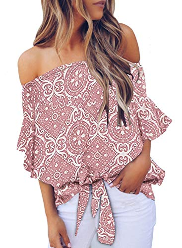 Asvivid Womens Casual Off The Shoulder Ethnic Floral Printed Bell Sleeve Chiffon Knot Blouses Loose Tunic Shirt S Pink