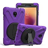 Shockproof Heavy Duty Military Armor Hybrid Shield Case Cover by KIQ For Samsung Galaxy Tab A 8.0 (new) 2017 SM-T380 SM-T385 (Shield Purple)