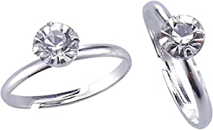Topoox Bridal Shower Rings 40 Pack Silver Diamond Engagement Rings for Wedding Table Decorations, Party Favors, Arts & Crafts