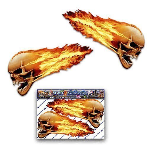 2 x Flaming Skull Scary Halloween Funny Car Stickers Motorcycle Vinyl Decals ST00016TP_LGE - JAS Stickers]()