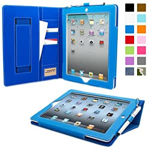 iPad 2 Case, Snugg™ - Executive Smart Cover With Card Slots & Lifetime Guarantee (Electric Blue Leather) for Apple iPad 2