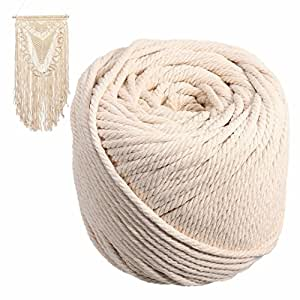 Hubei Handmade Decorations Natural Cotton Bohemia Macrame DIY Wall Hanging Plant Hanger Craft Making Knitting Cord Rope Natural Color Beige (5mm)