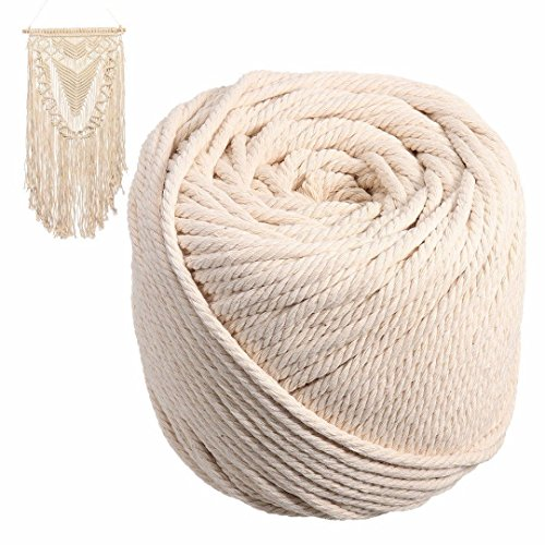 Diy Plant Hanger (Ialwiyo 5mm Macrame Cord,Not Dyed,Natural Color Handmade Soft 4-Strand 100% Cotton Cord Rope for Macrame,Wall Hanging,Plant Hanger,DIY Craft Making,Knitting (5mm x 50m(About 55)