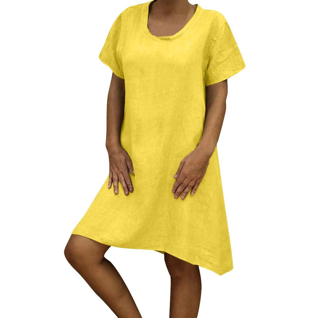 Frashing Damen Minikleid Beiläufiges Kurzarmkleider V-Ausschnitt Große Größe Einfarbig Tops Damen Kurzarm Kleider Langes Lose Tunika Oversized Shirt Sommerkleider Freizeitkleid