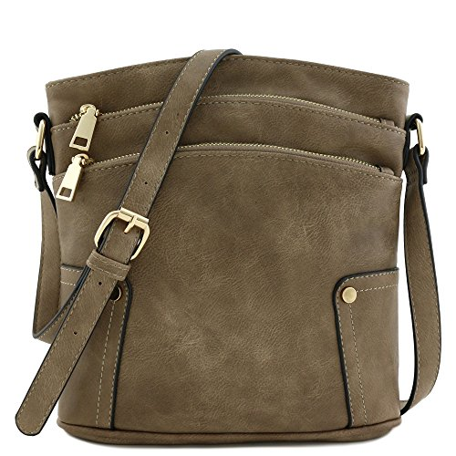 Triple Zip Pocket Medium Crossbody Bag (Taupe) by FashionPuzzle
