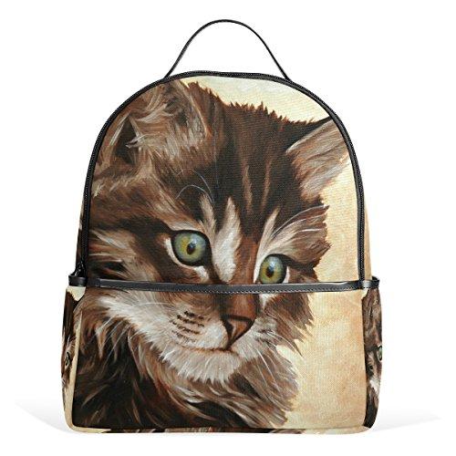 Coosun Malerei Kunst Katze Schule Rucksäcke Bookbags für Jungen Mädchen Jugendliche Kinder