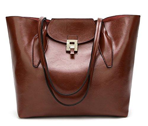 for Handbag Coffee Tote Handbag Shoulder Metal Handle Pu Women AISPARKY Shoulder Decoration Top Purse Leather with Bag Txaa8q7