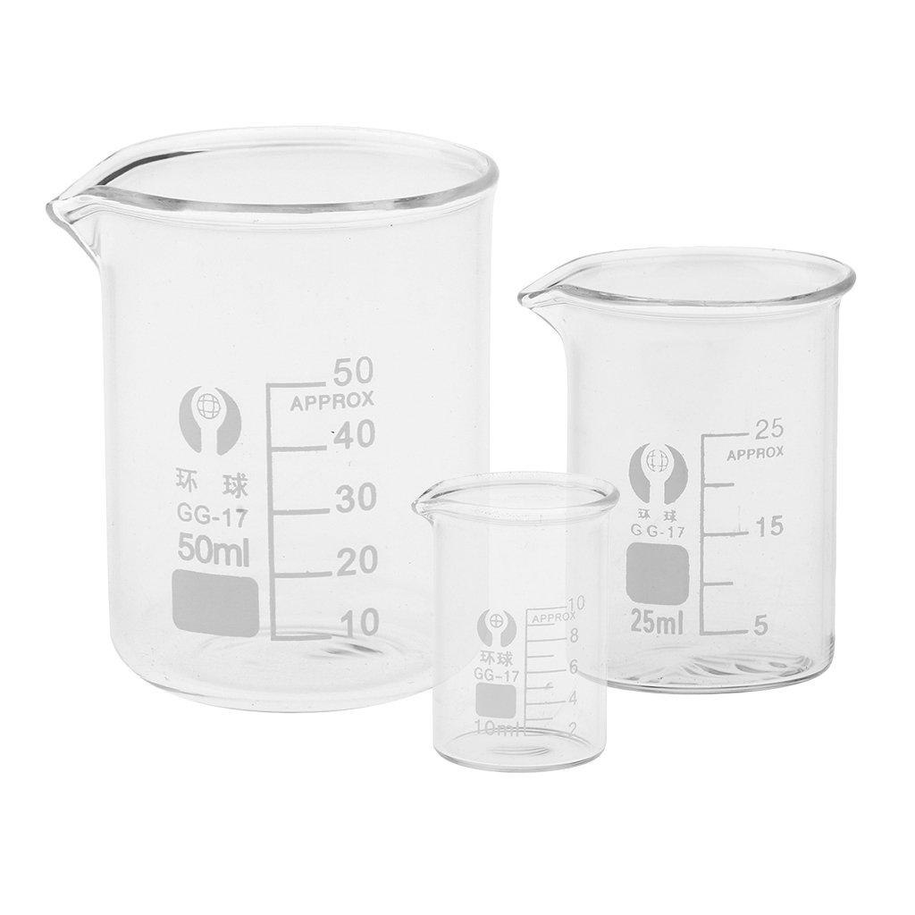 Fenteer 3Pcs Glass Beaker 10mL 25mL 50mL Chemistry Laboratory Borosilicate Measure Glassware