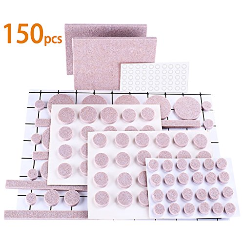 OLEBR Furniture Pads Premium Ultra Large Pack Furniture Felt Pads 150 pcs 100 Felt Pads Furniture Feet All Sizes + 50 Rubber Bumpers Pads Wood Floor Protectors & Cabinet Door Bumpers