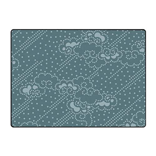 (Khope Navy Mermaid Scale Printed Slip Resistant Rubber Back Runner Rug and Area Rugs 60 × 39
