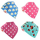Zippy Fun Baby and Toddler Bandana Bib - Absorbent 100% Cotton Front Drool Bibs with Adjustable Snaps (4 Pack Gift Set) Girls Funky Brights