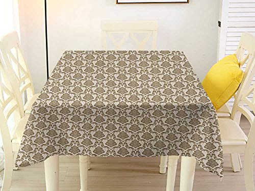L'sWOW Square Tablecloth Yellow Damask Ornamental Symmetric Antique Motif with Classical Elements Baroque Swirls Curves Cream Sepia Wrinkle 60 x 60 Inch