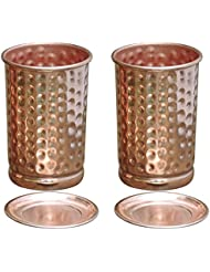Hammered Pure Copper Tumbler Set of 2 | Traveller's Copper Mug With Copper Lids Serving Water by HealthGoodsIn For Ayurveda Health Benefit | 250 Ml (8.4 US Fluid Ounce) Capacity.