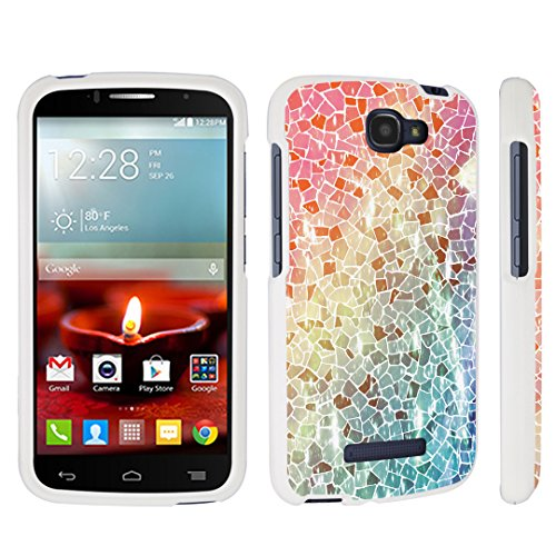 DuroCase Alcatel OneTouch Fierce 2 7040T / POP Icon A564C (2014 Released) Hard Case White - (Broken Mosaic) (Alcatel One Touch Fierce Prepaid Cell Phone)