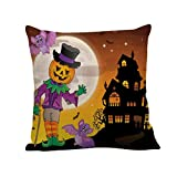 Pillow Case,SUPPION Happy Halloween Pillow Cases Linen Sofa Letter Cushion Cover Home Decor (12 kinds of patterns) (D)