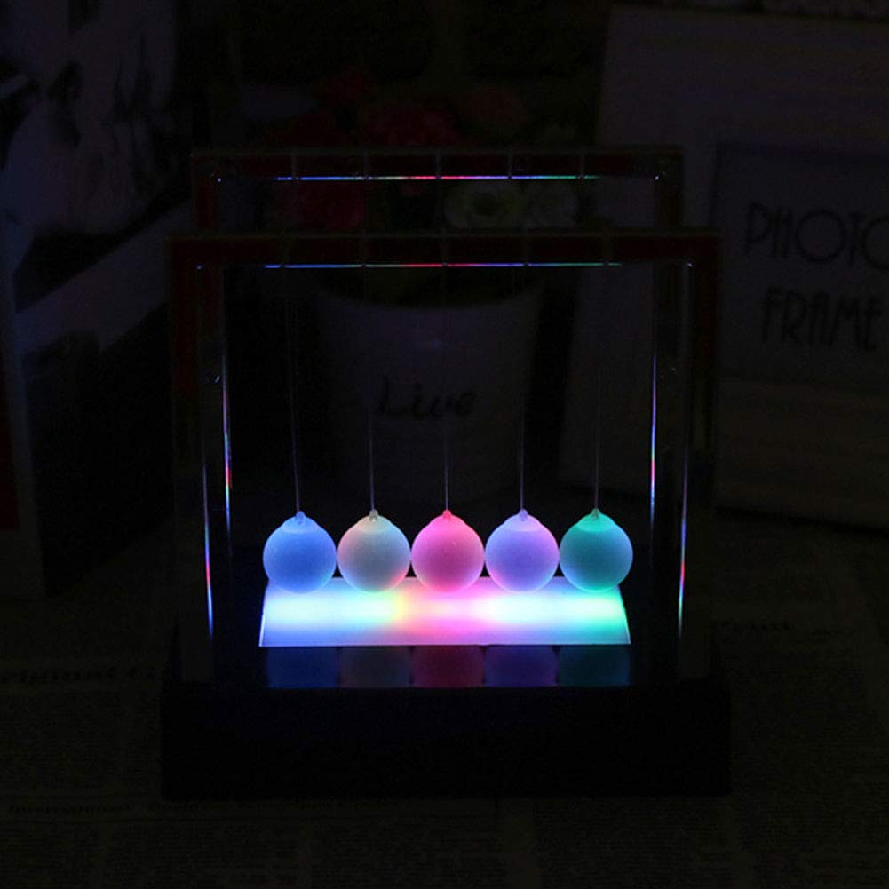 lightclub LED Luminous Light Newton Cradle Pendulum Balance Swing Ball Decorative Ornament Table Desktop Funny Novelty Decor Small