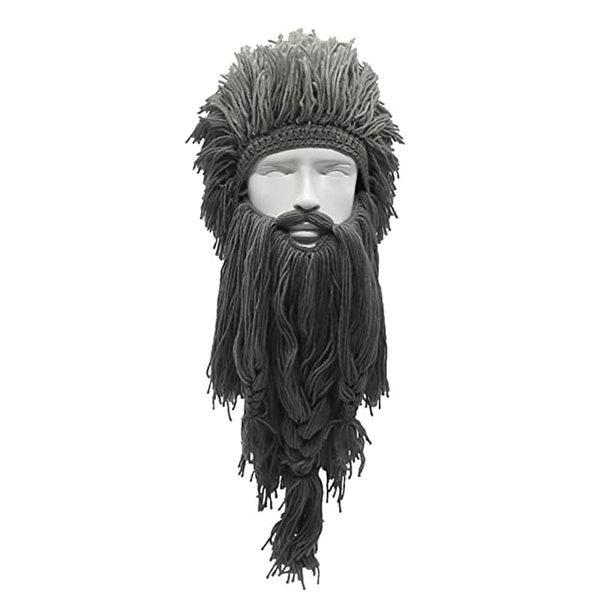 Peluca Creativa de Halloween Vikingo Gran Barba Larga Sombrero de Lana Mascarilla Gorro para Hombres Mujeres Otoño e Invierno Cálido y Divertido Gorra de ...