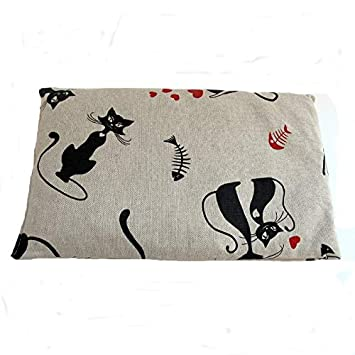 Cojín rectangular con huesos de cereza para dolor cervical con gatos 650g.: Amazon.es: Hogar