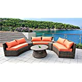 6 Seat Curved Outdoor Sofa 9 Feet 3 Pc Sectional Patio Furniture Set, Resin Wicker Rattan 3 Sofa Lounges, 3 Tables, 9 Sunbrella Cushions Model SDS-9087-SB