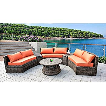 Amazon Com Seat Curved Outdoor Sofa Feet Pc Sectional