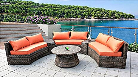 6 Seat Curved Outdoor Sofa 9 Feet 3 Pc Sectional Patio Furniture Set, Resin  Wicker