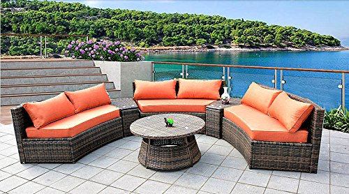6 Seat Curved Outdoor Sofa 9 Feet 3 Pc Sectional Patio Furniture Set, Resin Wicker Rattan 3 Sofa Lounges, 3 Tables, 9 Sunbrella Cushions Model SDS-9087-SB (Rounded Sectional Outdoor Furniture)