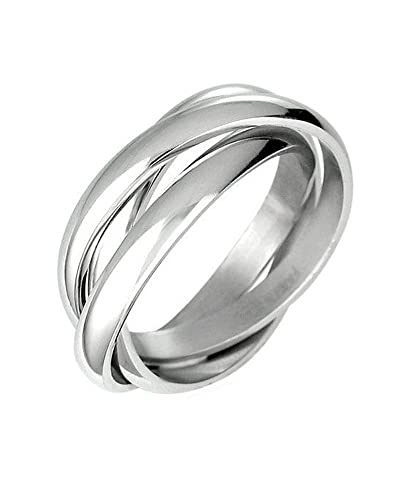 triple russian interlocked stainless steel men unisex wedding band rings size 5 - Wedding Rings Amazon